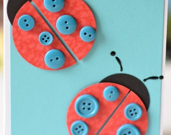 Lady Bug Card, Ladybird Card, Blue Red Black Handmade Card, Button Embellishments, Feminine, Girl Birthday Card, Birthday Card for Twins