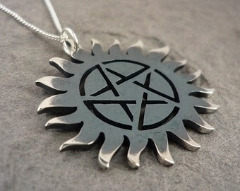 Supernatural Protection Necklace in blackened sterling silver