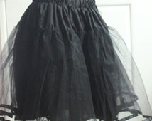 "Crinoline petticoat skirt for women's 50's dress in  black choose your size 23"" long"