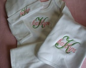 Embroidered Personalized Gown Hat and Bib Set