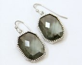 Mademoiselle. Dove Gray Silver Glass Stone Earrings Framed Faceted Octagon
