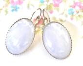 White Opal Glass Oval  Silver Tone Scalloped Drop Dangle Lever Back Earrings - Wedding, Bridesmaid,Beach , Bridal
