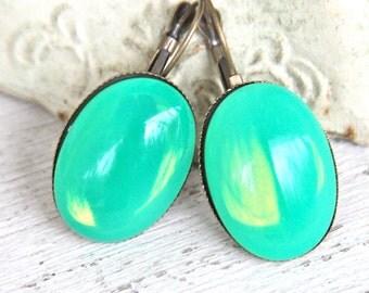 Green Opal Jade Vintage Oval Opalescent Antique Brass Lever Back Drop Dangle Earrings - Wedding, Beach, Bridal