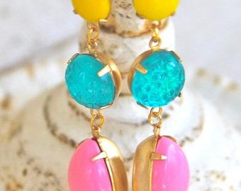 Vintage Aqua Blue Pink Bright Yellow Statement Earrings - Yellow Textured Aqua Blue Pink Pear Teardrop Rhinestone Dangle Earrings - Wedding
