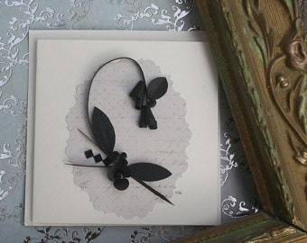 Quilled Enclosure Card, All Occasion, Sympathy, Wedding, Birthday, Hostess, Anniversary, Black Tie, Formal - Black and Ivory