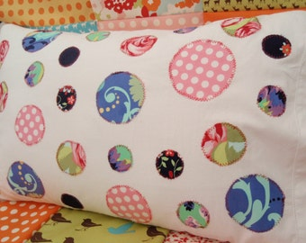 Dotty Pillow cover, Amy Butler fabrics on plain White Pillow case.