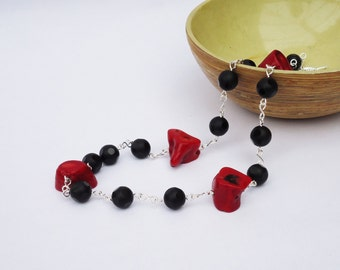 Red Coral and Black Agate Necklace, Polka Dots Agate Necklace, Gemstone, Black and Red Necklace, UK Seller