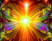 """Abstract Spiritual Art, Reiki Wall Decor, Chakra Energy Art """"Light Being"""""""