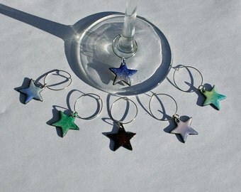 Star Wine Charms /  Copper Enamel Drink Charms