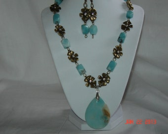 Antiqued BRASS and AMAZONITE Gemstone Necklace, (hg21) with earrings