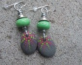 Earrings,Pink, Purple, Green, Beach Earrings, Stone Earrings, Pebble Earrings, Silver Earrings, Pink and Green, Rock Earrings