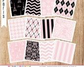 Paris in Pink and Black Digital Paper for scrapbooking, photographers, web designers