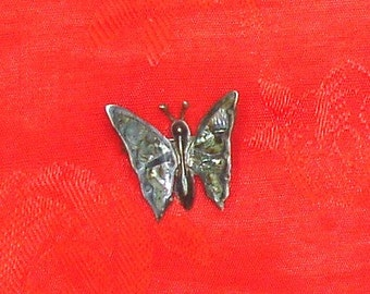 Vintage Petite Sterling Silver Mexico Abalone Inlaid Butterfly Pin Brooch Pre-1948