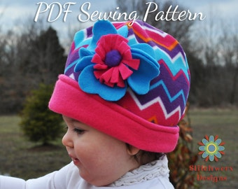 S109CHLD Hat PDF Sewing Pattern, Baby, Infant, Toddler, Girl, Boy, Child Sizes Included, Fleece or Knit Hat Pattern