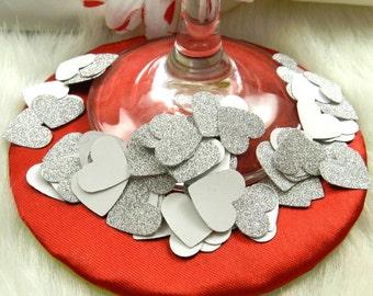 100 Silver Glitter Mini Hearts, Confetti, Parties, Weddings, Anniversaries, Embellishments, New Years