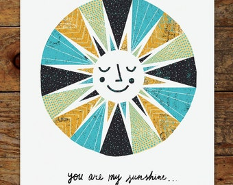 11x14 Happy Sunshine Illustration, You are my Sunshine Art Print