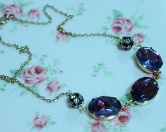 Sapphire Ruby Multi Glass Pendant Necklace,Ladies jewelry