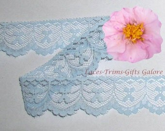 Blue Lace Trim 12/24 Yards Bows Scalloped 1-1/8 inch wide Lot O75A Added Items Ship No Charge
