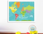 World Map Art for Kids, Print  for Nursery -World Playground -12X16 Inches, Birthday Gift, Baby Gift