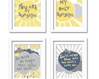 Sunshine Print Set- My Sunshine- 11X14 Inches, other sizes Nursery decor Baby Room Art