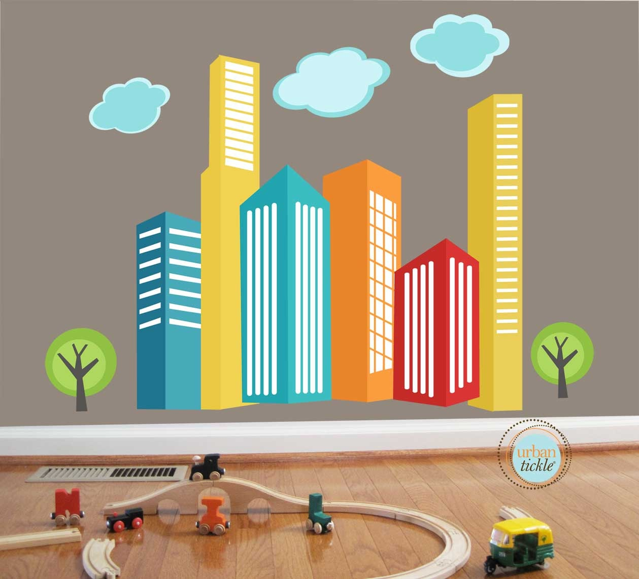 Diy Wall Decor For Playroom : City skyscrapers decals urban skyline small nursery wall