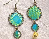 Upcycled Vintage Cookie Tin Kitsch Statement Earrings OOAK