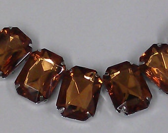 12 Pieces of 13 x 18 mm Cognac  Acrylic Octagon Rectangle Rhinestone, Jewels, Cabochon With Silver Prong , Sew on Setting.