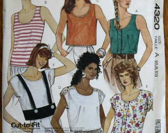 Easy McCalls 4320 Misses Summer Tops Shirts Vintage Sewing Pattern
