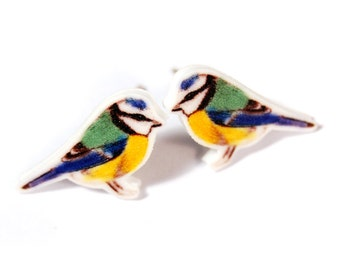 Blue tit stud earrings ~ illustrated bird earrings