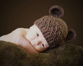 Baby Teddy Bear Hat, 12 to 24 Months Baby Teddy Bear Hat, Baby Crochet Flapper Beanie, Chocolate Brown with Ears. Great for Photo Props.