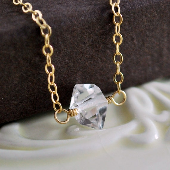Herkimer Diamond Jewelry, Choker Necklace, Semiprecious Nugget, Quartz Gemstone, Minimalist, Simple, Gold Filled Free Shipping