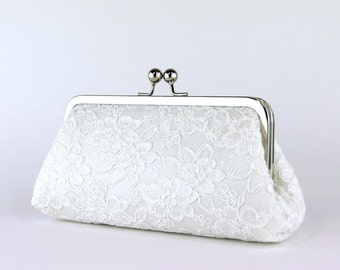 Alencon Lace  Silk Clutch in Ivory,  wedding clutch, wedding bag, Bridal clutch