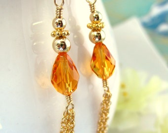 Gold Tassle Chain Earrings Orange Swarovski Crystal - Gold Tassle Autumn Orange Tear Drop Earrings - Orange Halloween Crystal Earrings