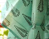 block printed sheer silk cotton fabric for curtains, dresses, tops. Gossamer thin. Emerald Greens. Emerald Forests Collection.