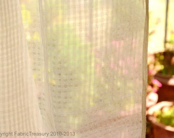 Sheer curtain fabric. Cotton fabric for drapes. Organic cotton undyed. Gingham Plaids. 44 inches wide.