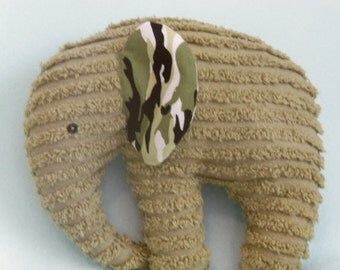 Stuffed Chenille Elephant, Med Sage Green, ears are Camo Print