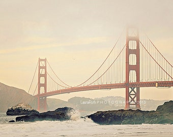 "Golden Gate Bridge Photograph - San Francisco Travel Photo - Red, Foggy, Misty, Ocean, Architecture - Fine Art Photo - ""Golden Gate Bridge"""