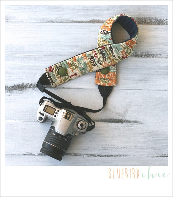 Ruched camera strap cover - autumn flowers
