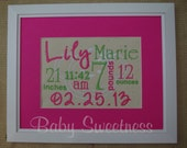 New Baby Gift Pink Green Canvas Birth Statistics Wall Hanging Subway Art Typography 8 X 10 FREE SHIPPING - babysweetness