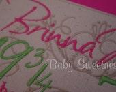 Personalized Nursery Art Birth Announcement Pink Green Canvas Birth Statistics Wall Hanging Subway Art Typography 8 X 10