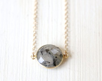 Stormy / Double Loop Black Rutilated Quartz Necklace / 14K gold filled everyday simple modern jewelry