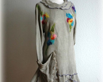 LINEN Knitted Asymmetrical Grey Tunic Sweater With Flower Appliques Unique Eco Friendly Clothing Natural M L Size