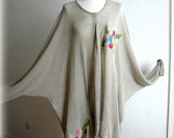 LINEN Knitted Tunic Dress  Light as a Feather With Unique Felt  Eco Friendly Clothing Natural   Plus Size