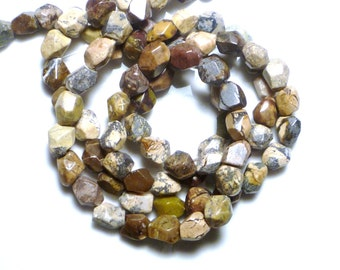 jasper  faceted nugget gemstone beads (7-10mmx8), FULL STRAND