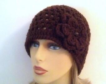 Dark Brown Beanie Hat, Womens Crochet Flower Hat
