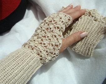 Crocheted lightweight lace fingerless gloves