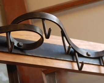 Wall Mounted Pot Rack, Coat Rack, Contemporary Forged Steel Design - Style 02