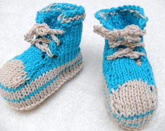 Knitted Infant Sneakers -Blue Baby Booties - 3-6M - organic cotton