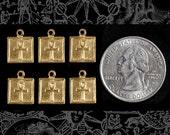 Square Brass Ankh Charm - Set of 6  B-C98