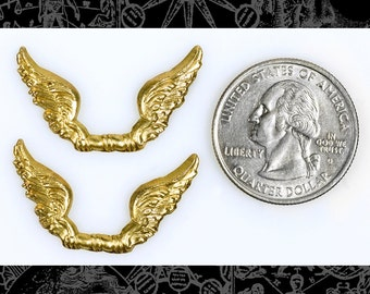 Joined Flared Wings in Raw Brass *  Set of 2  B-C106